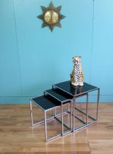 Chrome & glass table nest - SOLD